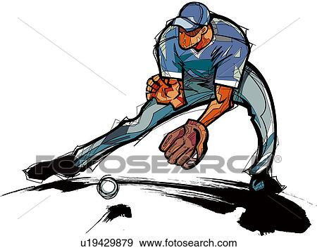 Stock Illustration of Baseball player catching ball ...