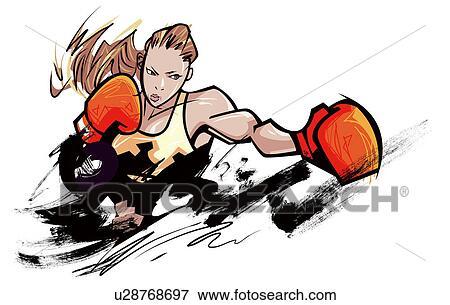 Banque d 39 illustrations femme porter gant boxe - Gant de boxe dessin ...
