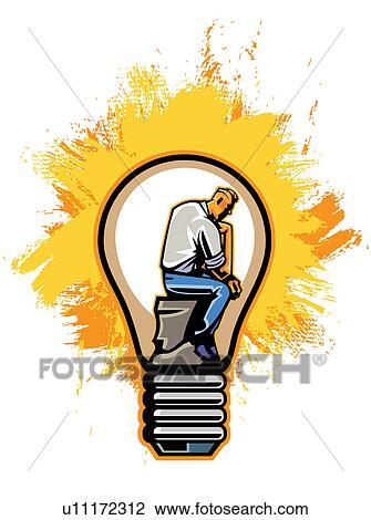uomo lampadina : Clip Art - uomo affari, dentro, lampadina. Fotosearch - Cerca Clipart ...