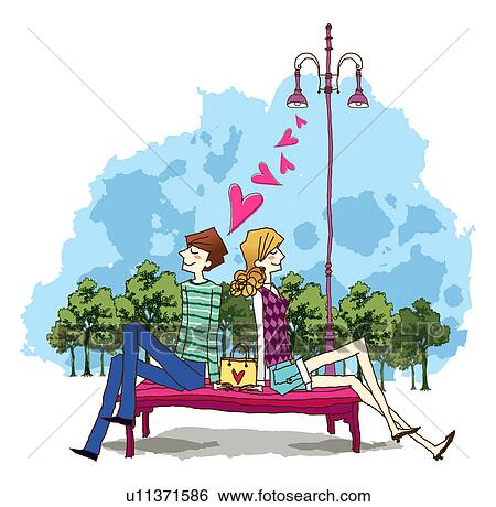Stock Illustration Of Side View Man And Woman Sitting On Bench