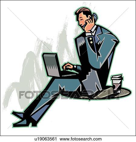 clipart vue c t de t l phone portable tenue homme quoique ordinateur portable sur. Black Bedroom Furniture Sets. Home Design Ideas