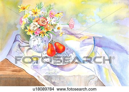 Drawings Of Flower Watercolor Painting Of Fruits Tea And A Vase Of Flowers On The Table