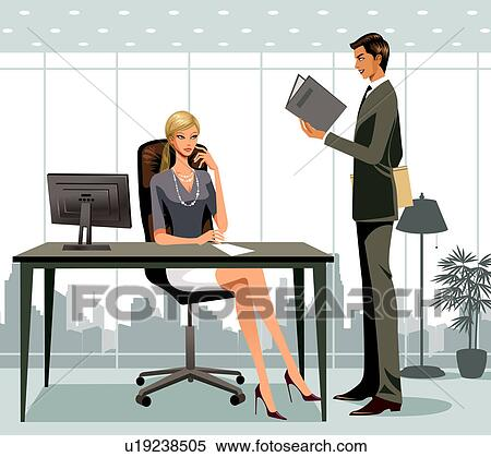 Stock Illustration of Business people working in office ...