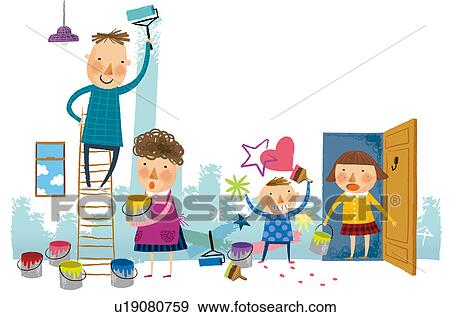 Family Painting Their Home