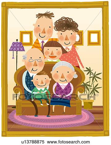 Clip Art of Portrait of large family in front of amusement park ...