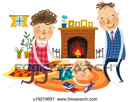 Clipart of parents taking care of boy child u19219691 - Search ...