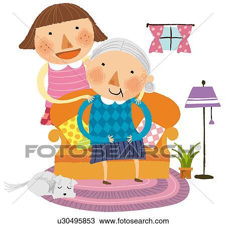 Dessin portrait de grand m re petite fille u30495853 recherchez des cliparts des - Dessin grand mere ...