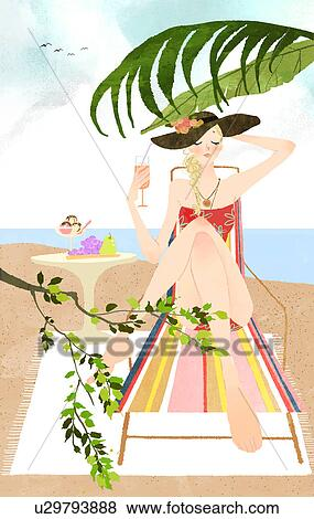 Stock Illustration Of Woman Sunbathing On Lounge Chair On