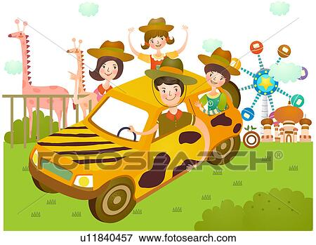 Stock Illustration Of Family Going At Amusement Park U11840457