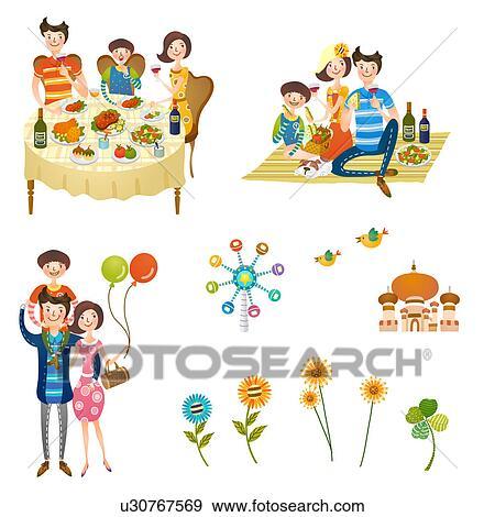 Stock Illustration Of Holidays With Family Icon Set U30767569