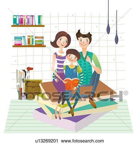 Clipart Of Family Reading Book Together U13269201