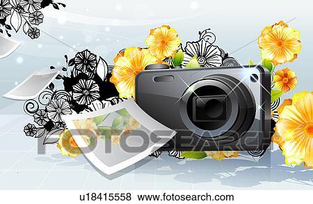 Arquivos de Ilustração - câmera foto, e, foto, com, flora ...