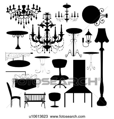 Dessin ensemble de silhouette de luxe chaise panneau signe et diff rent type de - Different type de lampe ...
