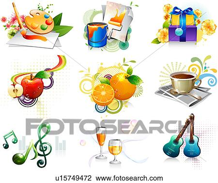 Clip Art of Leisure activity and refreshment icon set ...
