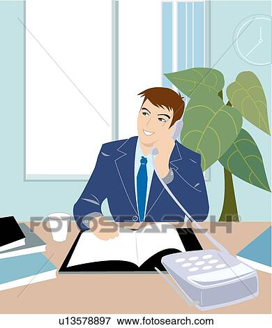 Stock Illustration of Pride, Busy, Men, Work, Office, Male ...