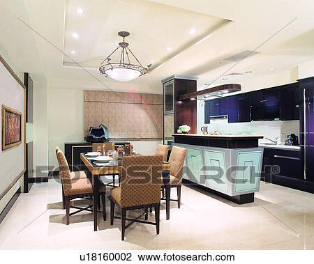 Banque de photo table haute vie espace chaise for Espace salle a manger