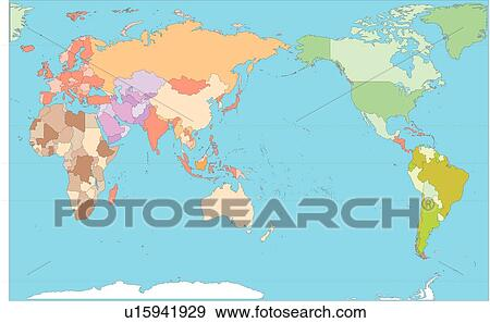 Stock illustration of equatorial line continents world map stock illustration equatorial line continents world map illustration country gumiabroncs Images
