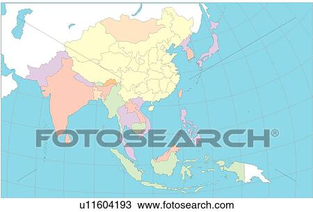 Drawing of globe, equatorial line, Map, continents, land, World ...