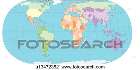 Clip Art Of World Countries Country Sea Globe Equatorial Line - Map of the globe with countries