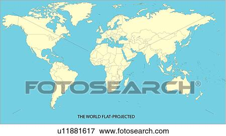 World Map Flat View Gallery Diagram Writing Sample And Guide - Flat map of world