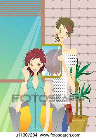 Drawings Of Young Woman Sitting Looking In The Mirror