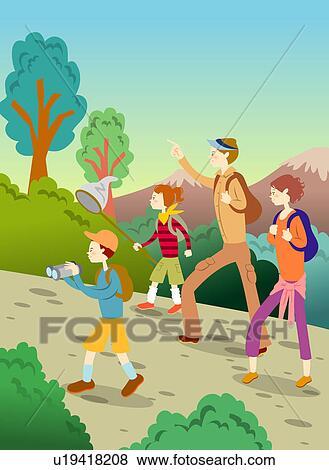 family hiking clipart - photo #17