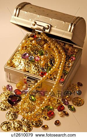 Stock Photograph of Jewelry in treasure chest u12610079 ...