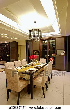 Stock Photo Of Showcase Interior Of Dining Room With