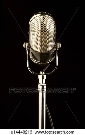 Stock Photo Of Old Fashioned Microphone In Black