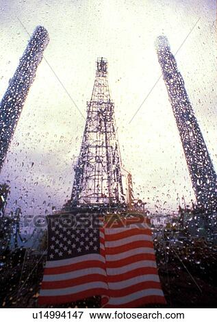 Gas Usage Calculator >> Picture of American Flag Viewed from Offshore Oil Drilling Rig u14994147 - Search Stock ...