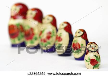 Stock fotografie russische verhoudingen gezin poppetjes set