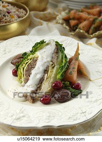 Stock photograph of stuffed savoy cabbage vegetarian for Vegetarian christmas stuffing