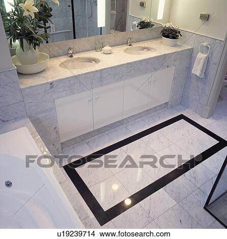Stock Photo Of Black Tiled Border In Marble Floor Tiles In