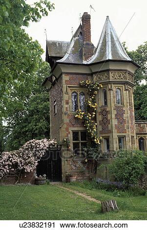 Stock Photography of Small lawn in front of Victorian Gothic house ...