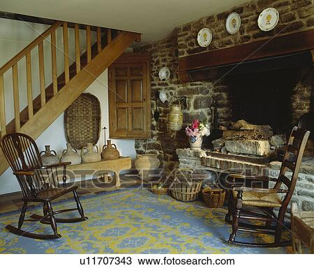 Stock Photo Of Antique Windsor Rocking Chairs Beside Inglenook Fireplace In H