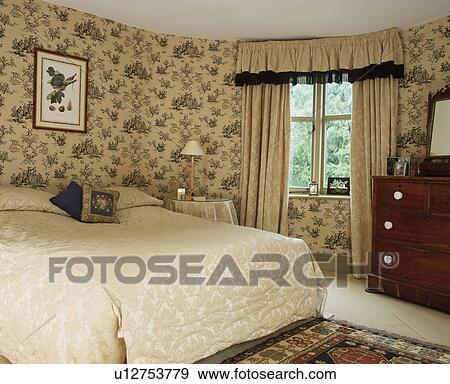 banque de photographies blue white toile de jouy papier peint dans pays chambre. Black Bedroom Furniture Sets. Home Design Ideas
