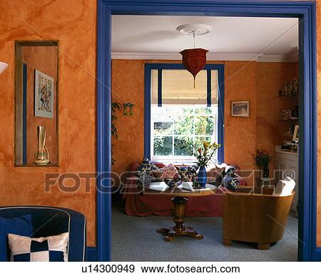 Stock Fotograf - malen, schwamm, effekt, auf, orange, wände, von ...