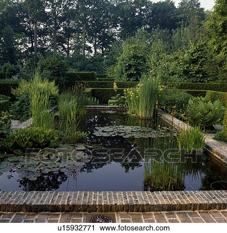 Stock Photography Of Large Rectangular Pond In Country Garden U15932771 Search Stock Photos