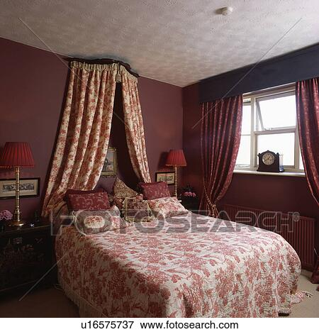 Picture of Coronet with red+white drapes above bed with matching ...