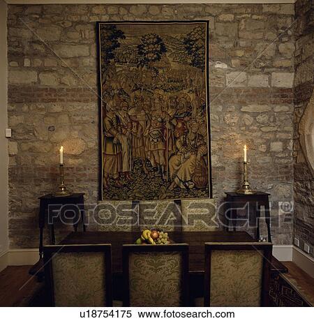 Stock Bild - wände, innere, tapisserie, beleuchtung, kerze, scheune ...