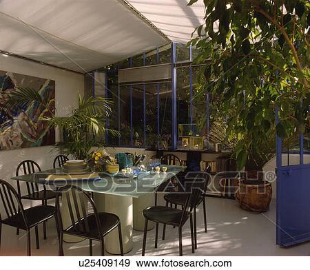 스톡포토 - 검정, 금속, 의자, 와..., 유리 테이블, 에서, 온실 ...