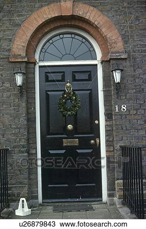 Christmas Front Door Clipart stock photo of georgian black front door with christmas wreath
