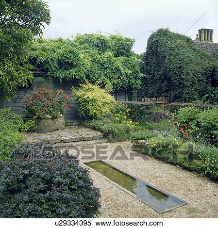 Stock Image Of Small Rectangular Pond In Country Garden U29334395 Search Stock Photos Mural
