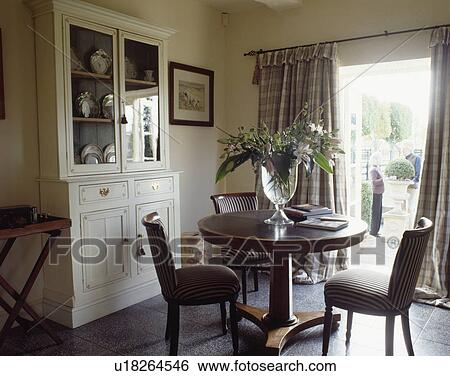 Mahogany Antique Pedestal Table And Striped Upholstered Chairs In Dining Room With White Dresser Slate Floor Tiles