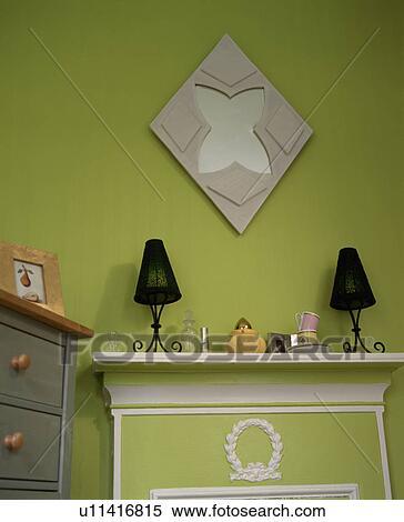 Archivio immagini specchio su parete verde sopra - Lampade sopra specchio ...