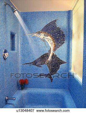 Picture of Large fish mosaic mural on blue mosaic shower ...