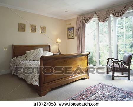 Bilder   antikk, mahogni, tente, bateau, seng, inn, soverom, med ...