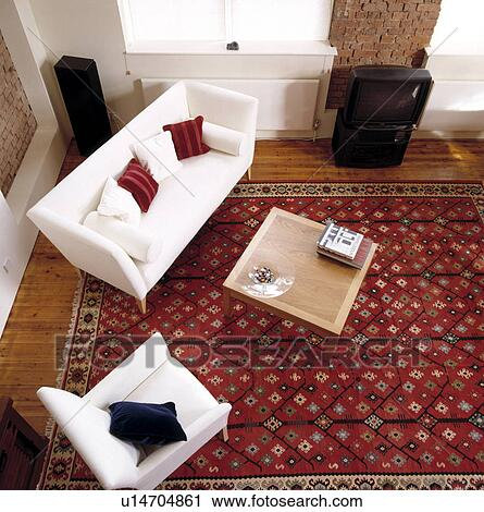 Aerial View Of White Sofa In Modern Living Room With Large Patterned Red  Oriental Rug Part 60