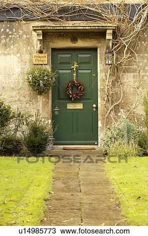 Stock Photo Of Stone Path To Green Front Door With Christmas Wreath On Englis