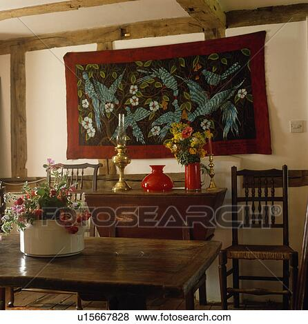 Pictures of embroidered collage wall hanging in country for Country dining room wall art
